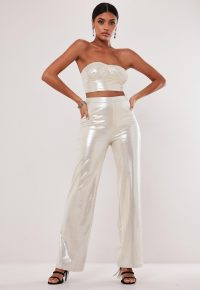 MISSGUIDED nude co ord shimmer wide leg trousers