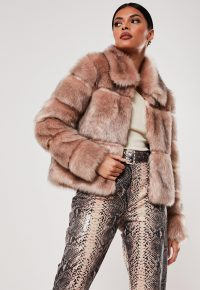 MISSGUIDED nude faux fur pelted coat / affordable winter luxe