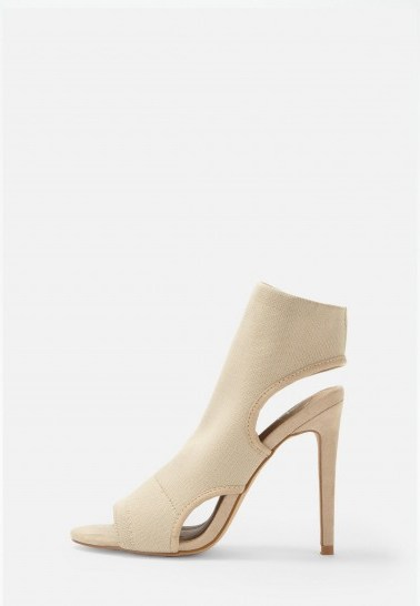 MISSGUIDED nude knit open toe heeled sandals / neutral cut-out heels - flipped