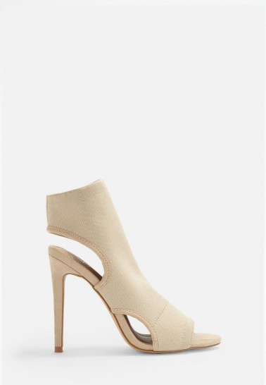 MISSGUIDED nude knit open toe heeled sandals / neutral cut-out heels