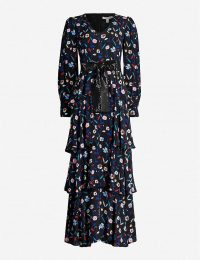 OLIVIA RUBIN Eveline retro floral-pattern silk-satin maxi dress in ~ feminine tiered dresses