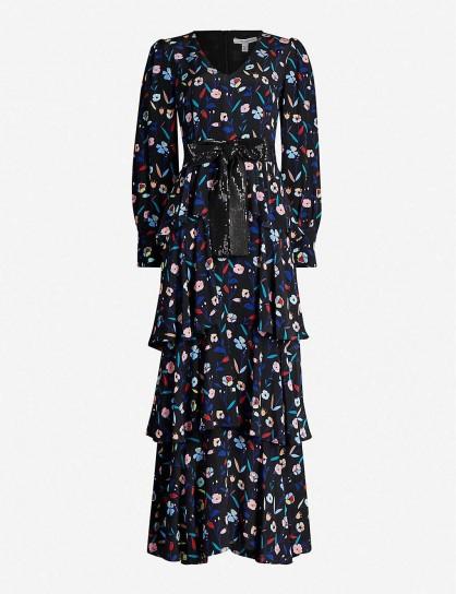 OLIVIA RUBIN Eveline retro floral-pattern silk-satin maxi dress in ~ feminine tiered dresses