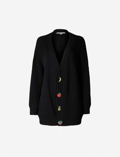 OLIVIA RUBIN Frankie fruit-embellished knitted cardigan in black ~ relaxed style cardigans - flipped