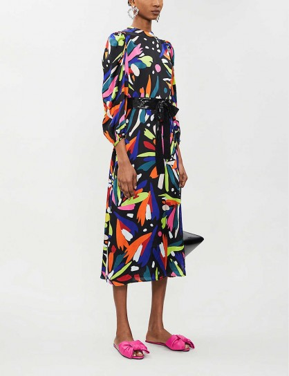 OLIVIA RUBIN Seraphina silk-satin midi dress in abstract floral ~ multicoloured dresses