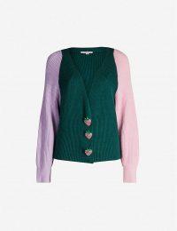 OLIVIA RUBIN Tally block-panel knit cardigan in green ~ cute colourblock cardi ~ strawberry buttons