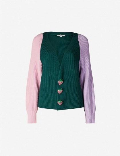 OLIVIA RUBIN Tally block-panel knit cardigan in green ~ cute colourblock cardi ~ strawberry buttons - flipped