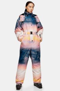 Topshop SNO Ombré Printed Hooded Ski Snow Suit – snow sport fashion – winter skiing suits
