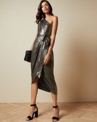 Ted Baker GABRIA One shoulder draped midi dres in gold | evening luxe