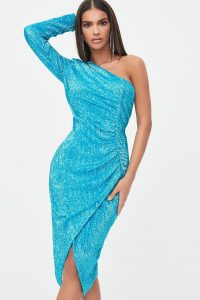 LAVISH ALICE one sleeve ruched sequin midi dress / blue party dresses