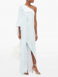 HALPERN One-shouldered sequinned dress in light-blue