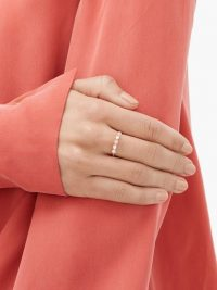 IRENE NEUWIRTH Opal, diamond & 18kt rose-gold ring in pink ~ slender band rings ~ delicate jewellery