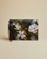 TED BAKER LIBBYY Opal print envelope pouch in black / flower print clutch