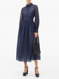 LUISA BECCARIA Peter Pan collar lace maxi dress in blue ~ sheer sleeved dresses