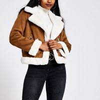 RIVER ISLAND Petite brown faux suede shearling jacket