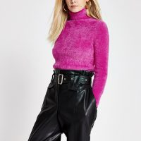RIVER ISLAND Petite pink long sleeve fluffy jumper – textured high neck sweater