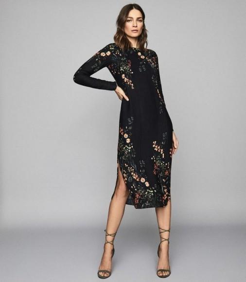REISS PETRA FLORAL PRINTED MIDI DRESS BLACK PRINT ~ side split dresses