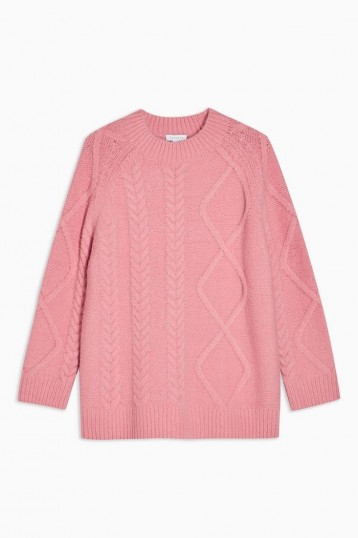 Topshop Boutique Pink Cable Knitted Jumper