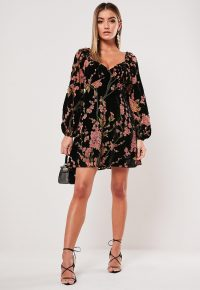 MISSGUIDED pink devore floral print milkmaid skater dress / velvet burnout dresses