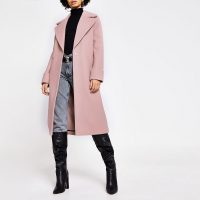 RIVER ISLAND Pink longline single breasted coat