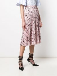 PRADA pink paisley-print pleated skirt