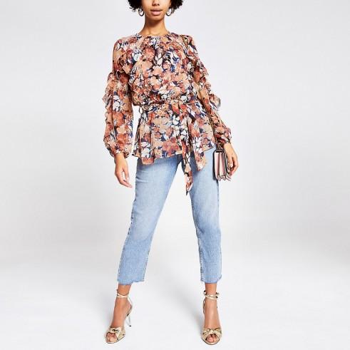 RIVER ISLAND Pink printed embellished frill blouse