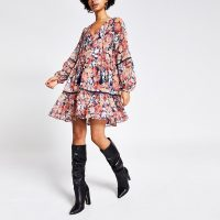RIVER ISLAND Pink printed long sleeve smock dress. TIERED FRILL HEM DRESSES