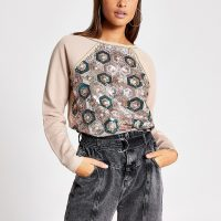 RIVER ISLAND Grey sequin embellished loose sweatshirt. CASUAL LUXE SWEAT TOP