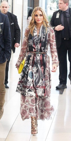 Olivia Palermo floral dress with abstract print scarf