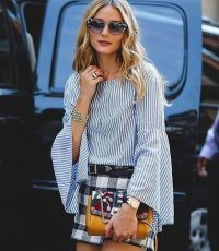 Olivia Palermo glamorous in stripes and checks