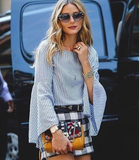 Olivia Palermo glamorous in stripes and checks - flipped