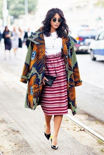 Bold peacock feather print coat and pink striped paperbag waist skirt / outfits you didn't think would work - flipped