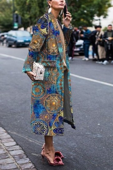 luxe street style outfits / rich fabric statement coats - flipped