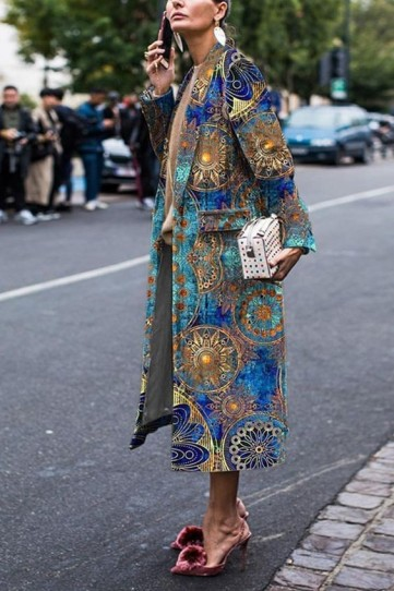 luxe street style outfits / rich fabric statement coats