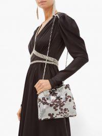 PACO RABANNE Pixel 1969 sakura-print chainmail shoulder bag in silver – luxury metallic occasion bags