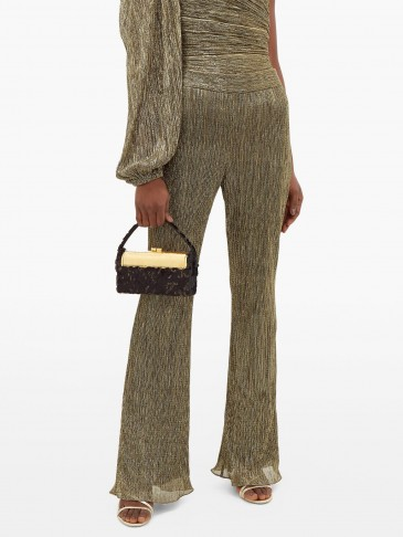PETER PILOTTO Plissé metallic-jersey trousers in gold ~ luxe evening pants