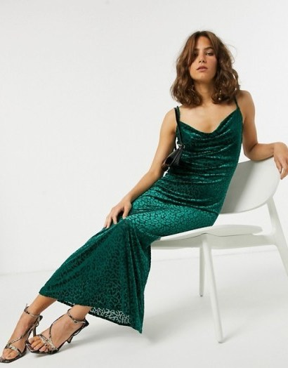 Pretty Lavish maxi cami dress in green velvet leopard | cowl neck slip dresses - flipped