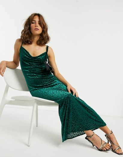 Pretty Lavish maxi cami dress in green velvet leopard | cowl neck slip dresses