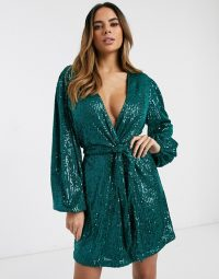 Pretty Lavish tie mini dress in emerald sequin | green plunging party dresses