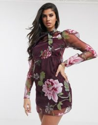 PrettyLittleThing organza mini dress with puff sleeves in dark purple floral / sheer sleeved dresses