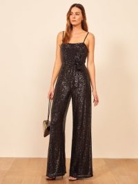 REFORMATION Prince Jumpsuit in Black ~ sparkling strappy jumpsuits