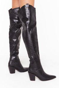 NASTY GAL PU croc OTK block heel boots / crocodile embossed footwear
