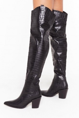 NASTY GAL PU croc OTK block heel boots / crocodile embossed footwear - flipped