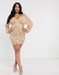 Public Desire Curve mini dress with hook and eye detail in beige satin – plus size party dresses