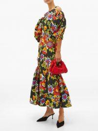 CAROLINA HERRERA Puff-sleeve floral-print faille dress in black ~ cold shoulder dresses