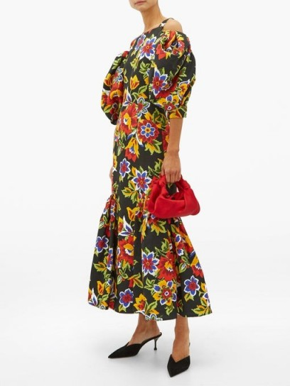 CAROLINA HERRERA Puff-sleeve floral-print faille dress in black ~ cold shoulder dresses