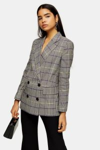 TOPSHOP Purple Check Double Breasted Blazer / checked jackets