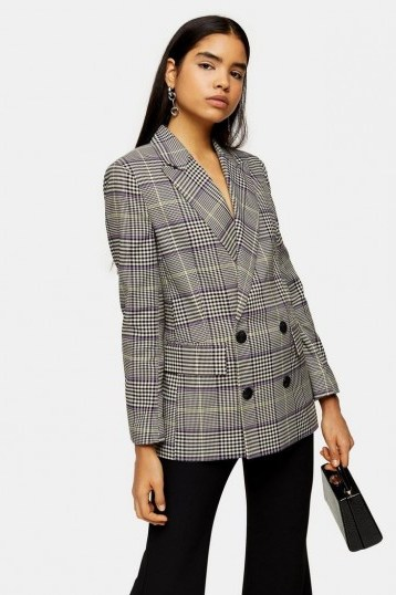 TOPSHOP Purple Check Double Breasted Blazer / checked jackets - flipped