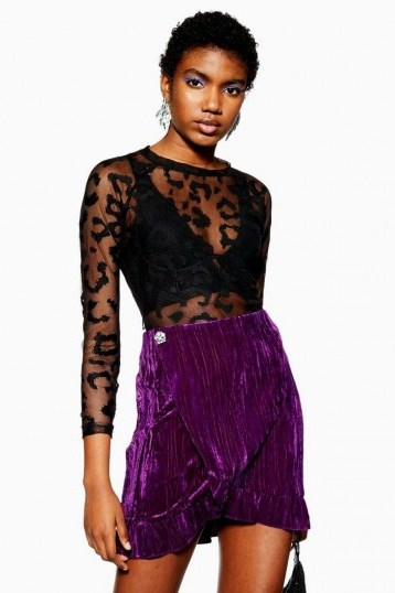 Topshop Purple Velvet Mini Wrap Skirt | party fashion | ruffled skirts - flipped