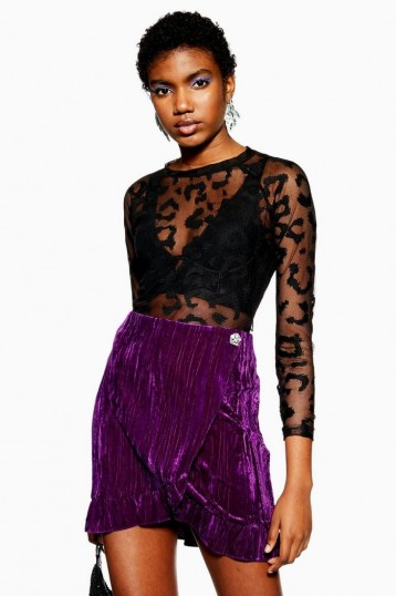 Topshop Purple Velvet Mini Wrap Skirt | party fashion | ruffled skirts