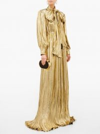 GUCCI Pussy-bow silk-blend gold-lamé gown – luxury designer gowns – event glamour